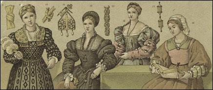 Прически 16 века. Италия
