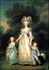 Королева Мария-Антуанетта Франции со своими детьми Мария Тереза Шарлотта Франции и Дофин Жозеф Луи Франции, художник Адольф Ульрих Вертмюллер 1785-1786 гг.