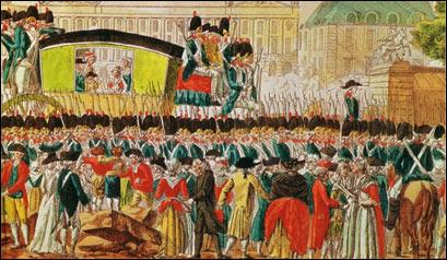 Возвращение в Париж королевской семьи, арестованной в Варенне при попытке бегства за границу, 25 июня 1791 года.