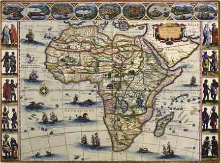 Карта Африки Виллема Блау 1630 год